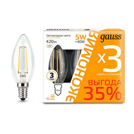 Комплект ламп Gauss LED Filament Candle