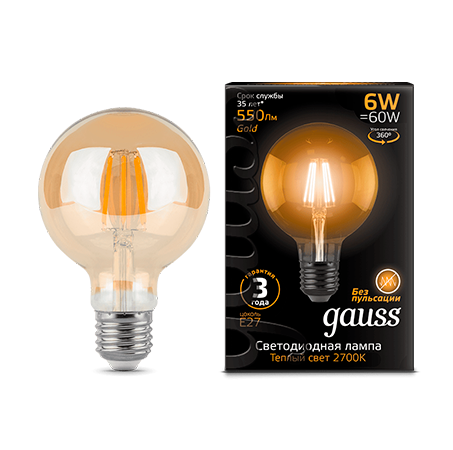 Лампа Gauss LED Filament G95 Golden